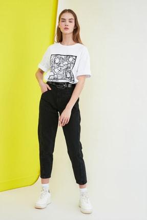 TRENDYOLMİLLA Beyaz Baskılı Loose Kalıp Örme T-Shirt TWOSS20TS0110 2