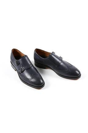 Hemington Erkek Tokalı El Yapımı Lacivert Deri Ayakkabı 2