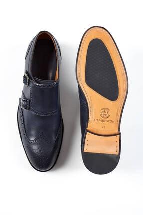 Hemington Erkek Tokalı El Yapımı Lacivert Deri Ayakkabı 3