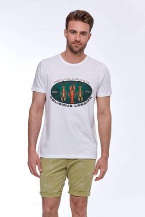 Hemington Erkek Baskılı Beyaz Pamuk T-shirt 2