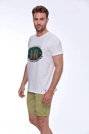 Hemington Erkek Baskılı Beyaz Pamuk T-shirt 4