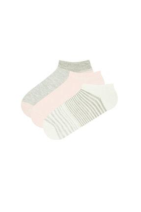 Penti Kadın Pembe Gri Beyaz Patik Çorap 3lü 0