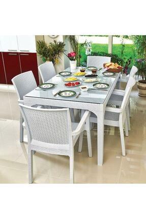 Holiday Rattan Bahçe Masa Takımı Koyu Beyaz ( Camlı ) 90*150 Ölçü Ve 6 Adet Rattan Koltuk 0