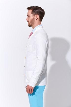 Hemington Erkek Giza Pamuk Beyaz Triko Kruvaze Ceket 3