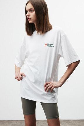 GRIMELANGE LOURDES Kadın Beyaz Önü ve Arkası Baskılı T-Shirt 2