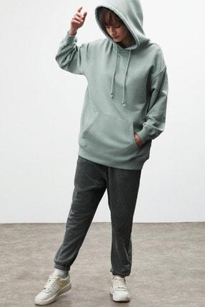 GRIMELANGE FRIDA Kadın Mint Oversize Kapüşonlu Sweatshirt 0