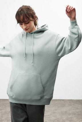 GRIMELANGE FRIDA Kadın Mint Oversize Kapüşonlu Sweatshirt 3