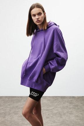 GRIMELANGE VIENNA Kadın Mor Ekstra Oversize Yan Cepli Kapüşonlu Sweatshirt 3