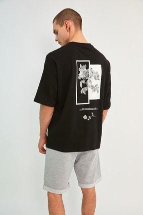 TRENDYOL MAN Siyah Erkek Oversize Bisiklet Yaka Baskılı Kısa Kollu T-Shirt TMNSS21TS1223 2