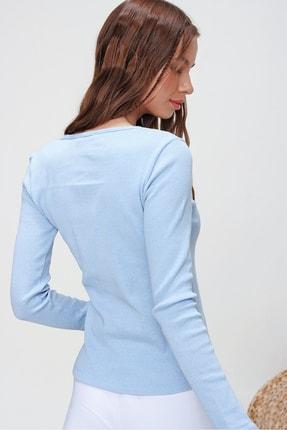 Trend Alaçatı Stili Kadın Mavi Kuş Gözlü Yakası Bağcıklı Fitilli Bluz ALC-X5883 3