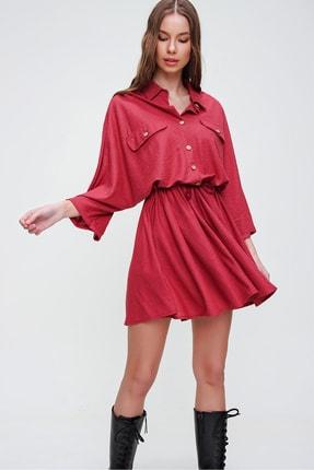 Trend Alaçatı Stili Kadın Kırmızı Safari Dokuma Elbise ALC-X5440 3