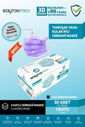 SAYTEKMED Meltblown Filtreli, Yassı Ipli, Lila Maske (50 Adet/1 Kutu) 1