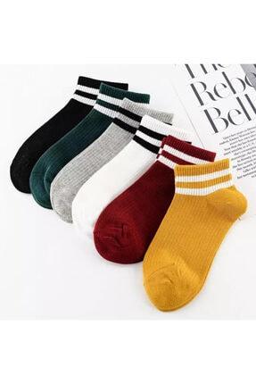 BGK Unisex 6 Çift Koton Çizgili Patik Çorap Extra Soft 0
