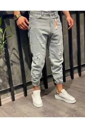 Oliggopol Erkek Gri Paçası Lastikli Likrasız Kot Pantolon 0