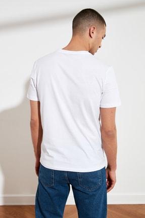 TRENDYOL MAN Beyaz Erkek Slim Fit Bisiklet Yaka T-Shirt TMNSS21TS0444 4