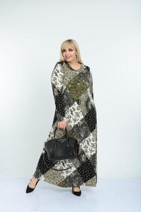 Şirin Butik Kadın Haki Yaka Pervazlı Viskon Elbise 2
