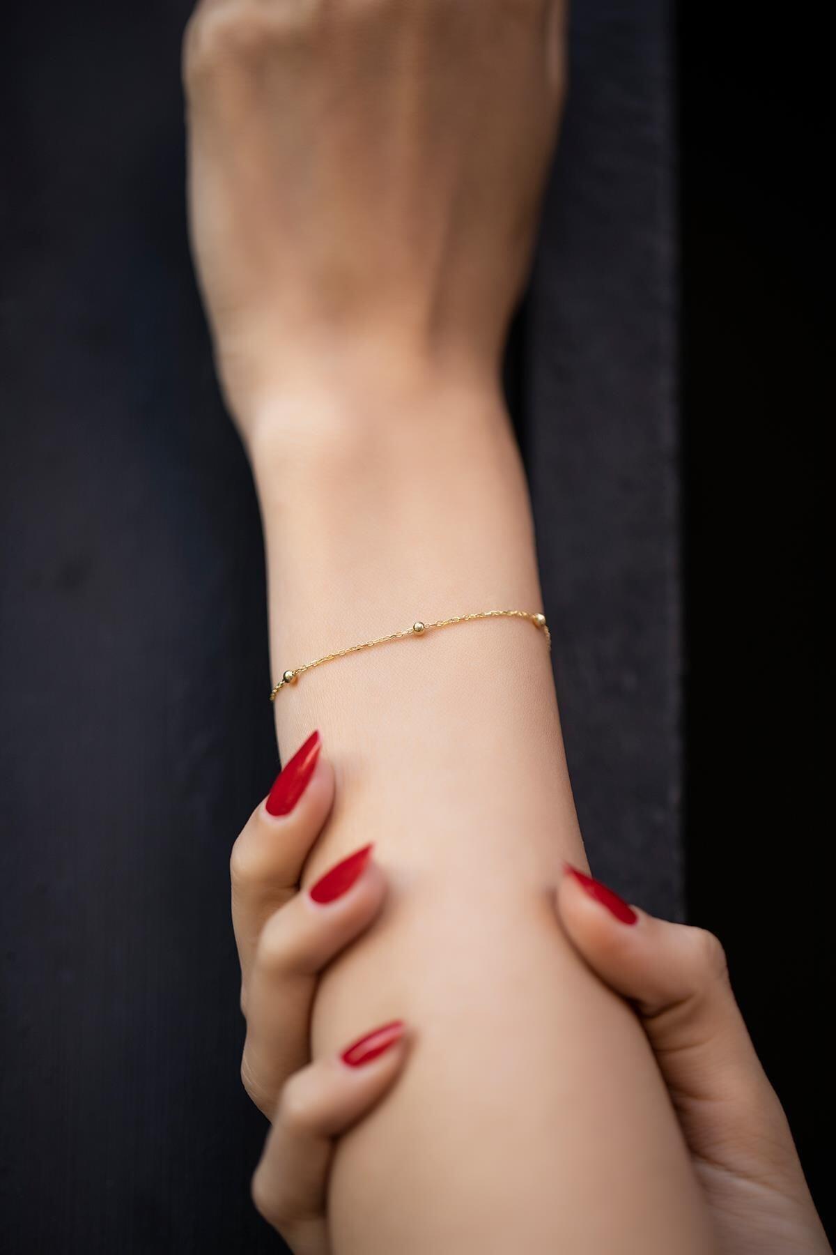 Top Model Altın Kaplama Zincir Bileklik