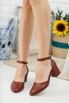 MERVE BAŞ Bordo Cilt Bilekten Tek Bant Kalın Topuklu Klasik Ayakkabı 2