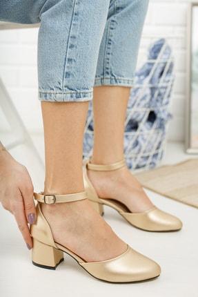 MERVE BAŞ Kadın Dore Cilt Bilekten Tek Bant Kalın Topuklu Klasik Ayakkabı 2