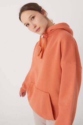 Addax Kadın Kayısı Kapüşonlu Sweatshirt S0519 - P10V1 Adx-0000014040 0