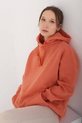 Addax Kadın Kayısı Kapüşonlu Sweatshirt S0519 - P10V1 Adx-0000014040 1