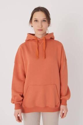 Addax Kadın Kayısı Kapüşonlu Sweatshirt S0519 - P10V1 Adx-0000014040 4