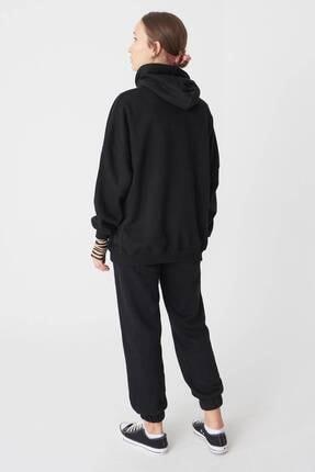Addax Kadın Siyah Kapüşonlu Sweatshirt S0519 - P10V1 Adx-0000014040 4