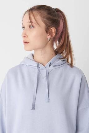 Addax Kadın Buz Mavi Kapüşonlu Sweatshirt S0519 - P10V1 Adx-0000014040 2