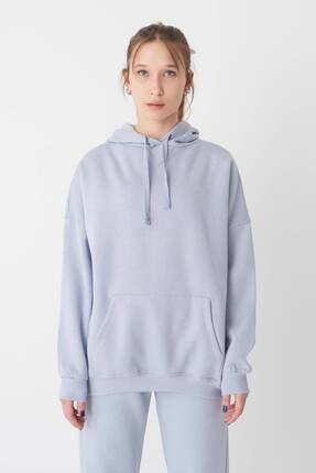 Addax Kadın Buz Mavi Kapüşonlu Sweatshirt S0519 - P10V1 Adx-0000014040 4