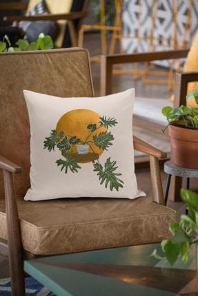 Little Touch Navajo Beyazı Zeminde Minmalist Bitki Tasarımlı Dijital Baskılı Kırlent Kılıfı 1