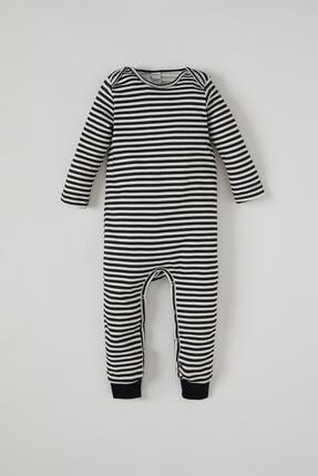 Defacto Erkek Bebek Çizgi Desenli Uzun Kol Çıtçıtlı Pamuklu Tulum 0