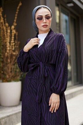 Elifnur Kadın Mor Desenli Kimono 8889-9 1