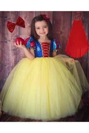 DEHAMODA Kız Çocuk Sarı Kabarık Pelerin ve Taç Pamuk Prenses Kostümü 0