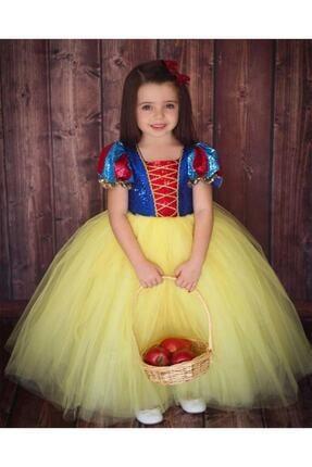 DEHAMODA Kız Çocuk Sarı Kabarık Pelerin ve Taç Pamuk Prenses Kostümü 1