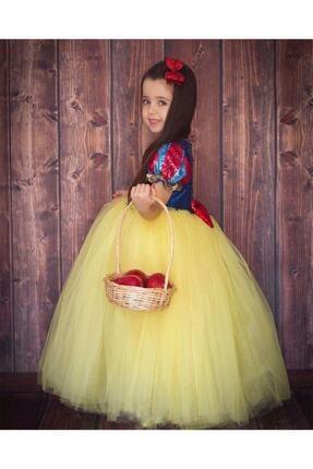 DEHAMODA Kız Çocuk Sarı Kabarık Pelerin ve Taç Pamuk Prenses Kostümü 2