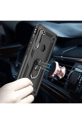 Teknoçeri Xiaomi Redmi  Uyumlu Note 8Yüzüklü Standlı Military Ring Holder Kılıf 3
