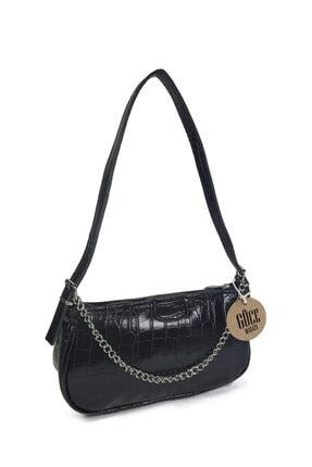 Güce Kadın Siyah Kroko Desenli İnce Zincirli Baget Çanta Gc011500k 1