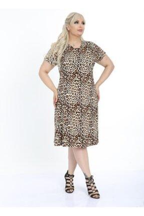 HERAXL Kadın Leopar Desen Göğüs Kuplu Büyük Beden Viskon Elbise 1