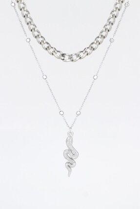 X-Lady Accessories Yılan Figürlü Kombin Kolye Gümüş Rengi 1