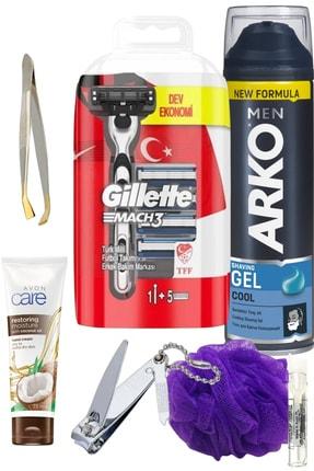 Gillette Mach3 Tıraş Makinesi (5 Yedek Bıçak) + Tıraş Jeli Cool /7 Parça Set 0