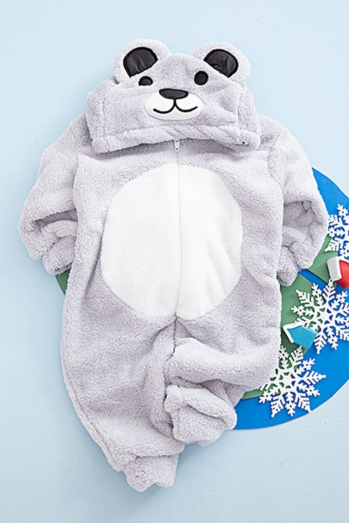 Bebek Panda Peluş Tulum Gri