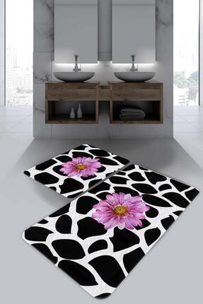 Evsebu Pienso Home Siyah Beyaz Banyo Paspası 0