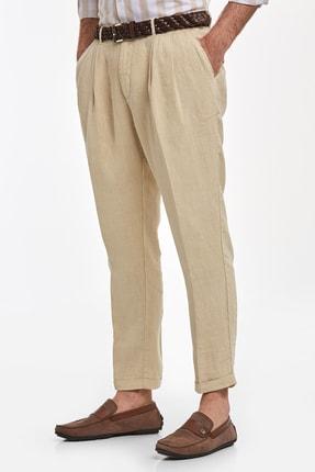 Hemington Erkek Kum Rengi Saf Keten Pileli Pantolon 3
