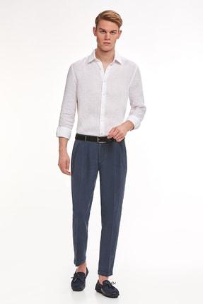Hemington Erkek Lacivert Saf Keten Pileli Pantolon 1
