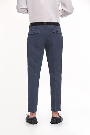 Hemington Erkek Lacivert Saf Keten Pileli Pantolon 2