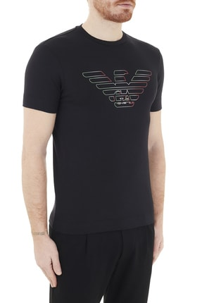 Emporio Armani Erkek Siyah Logo Baskılı Bisiklet Yaka Pamuklu T Shirt 3k1tca 1j11z 0999 3