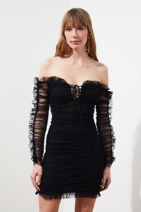 TRENDYOLMİLLA Siyah Drapeli Tül Elbise TPRSS20EL0800 0