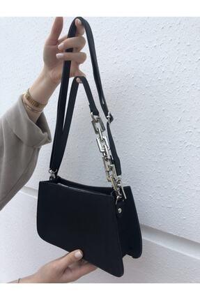 hanbag Kadın Siyah Zincir Detaylı Baget Çanta 0