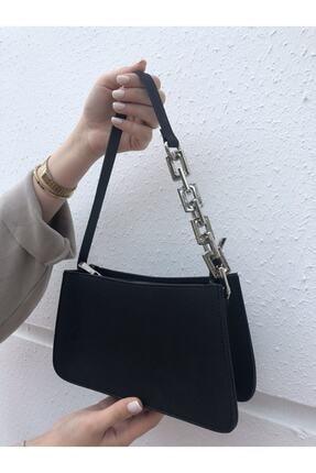 hanbag Kadın Siyah Zincir Detaylı Baget Çanta 2