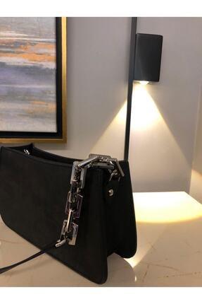 hanbag Kadın Siyah Zincir Detaylı Baget Çanta 4